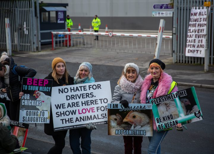 Families standing together to try and raise awareness of veganism