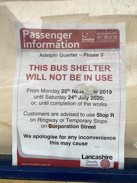 Notice on Bus stop on Friargate