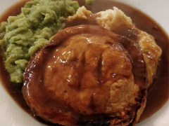 Pie, mash, mushy peas and extra gravy