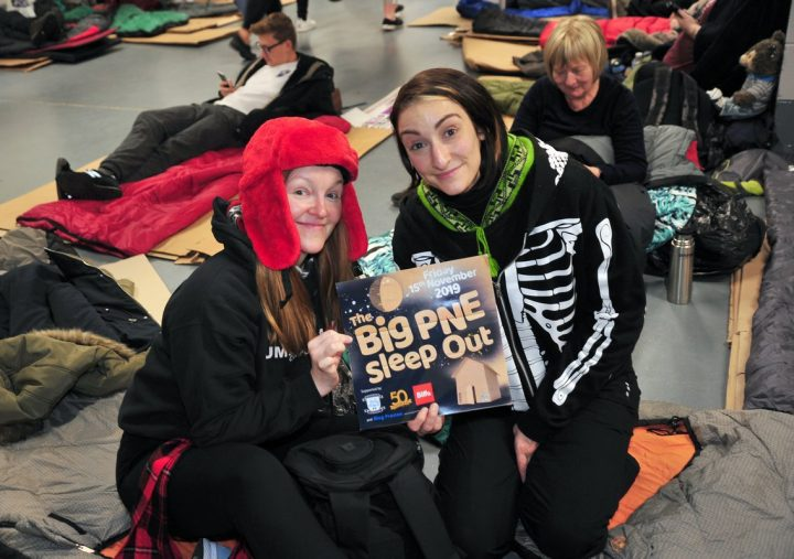 Bedding down at the Big PNE Sleep Out which took place on Friday November 15 2019 Pic: Donna Clifford