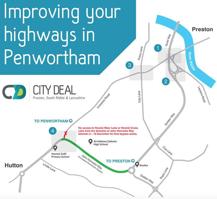 Penwortham bypass map