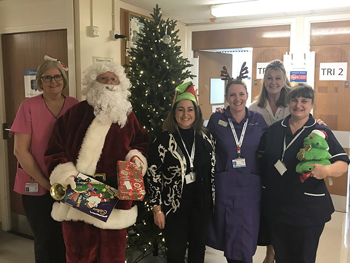 Sharing their Christmas wish list to transform the Royal Preston's children's ward into a winter wonderland with Santa himself are, from the left, Play specialist Pamela O'Brien, ex-Executive Director Sue Musson, Divisional Nursing Director Joanne Connolly, Chief Executive Karen Partington and ward manager Tracy Denny