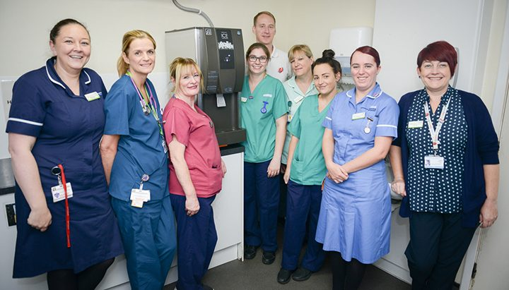 The Ribblesdale Ward's new ice machine, which comes courtesy of Valerie Bennett via Rosemere Cancer Foundation, gets a warm welcome from (left to right), ward manager Danielle Jackson, advanced nurse practitioner Bernadette Unsworth, housekeeper Christine Ryan, healthcare assistant Becks Pratt, Rosemere Cancer Foundation chief officer Dan Hill, healthcare assistants Sue Bond and Sam Dennis, staff nurse Sarah Hall and ward clerk Gwen Tunstall