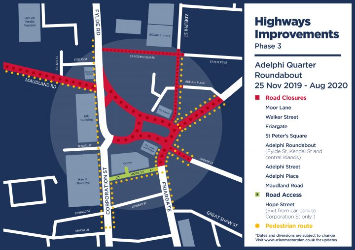 Map of the Adelphi roundabout closures during phase 3 off the works.