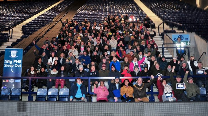 Those who took part in the Big PNE Sleep Out in the Kop stand on Saturday morning Pic: Donna Clifford
