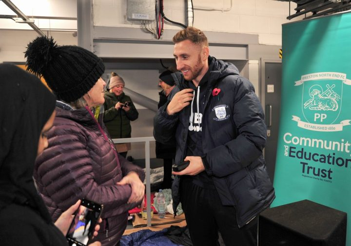 Injured PNE striker Louis Moult spent time meeting and speaking to those taking part Pic: Donna Clifford