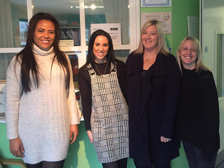 Rochelle (left) visiting the Barnardo's Centre at Leyland