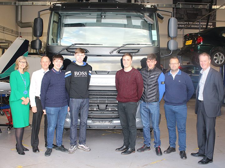 Preston's College students with college staff and representatives from Leyland Trucks