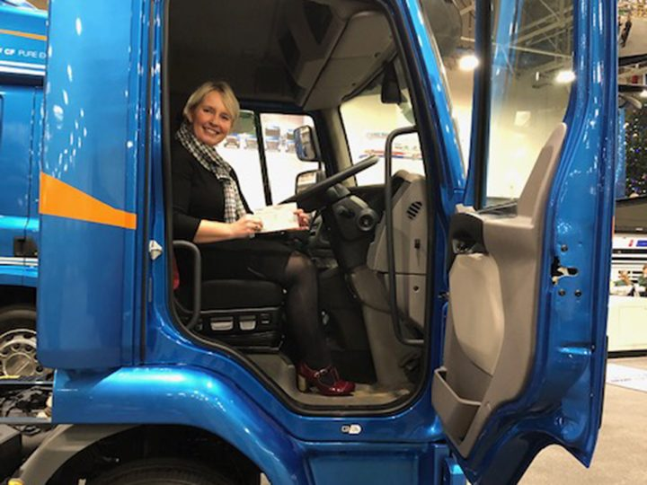 Rosemere's Cathy Skidmore in a Leyland Trucks truck