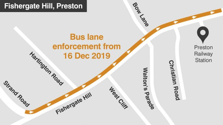 Fishergate Hill bus lane map