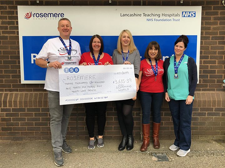 L-R: Gavin and Caroline with Rosemere Cancer Foundation fundraising co-ordinator Louise Grant, Lou and club member Ann