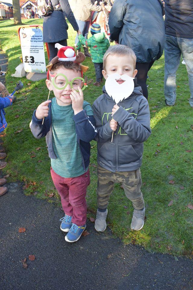 Children celebrating at the fair
