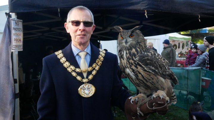 South Ribble Mayor Harry Hancock holding a Tawny Owl