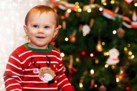 Young boy at Christmas