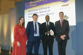 Members of staff from UCLan's Fire department collecting the award in the London Ceremony
