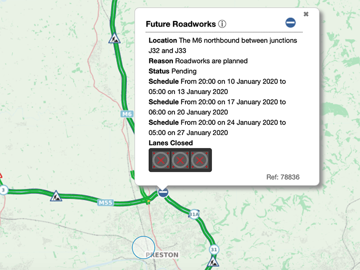 Details of the planned M6 closures are on the Highways England website