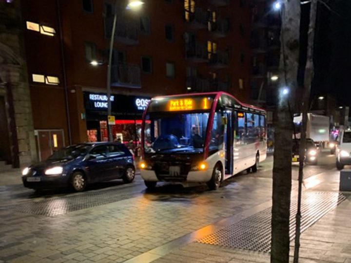 The Park and Ride bus stuck in Church Street