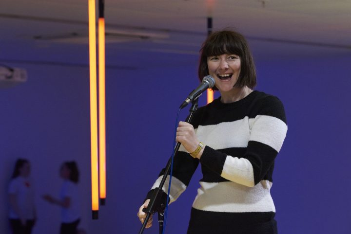 Louise Fazackerley mid-performance