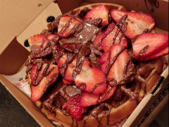 Kaspa's Choco-tella hazelnut chocolate spread waffle with strawberries