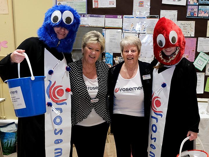 Norma (left) with Margaret and a couple of costumed helpers at a previous fundraiser