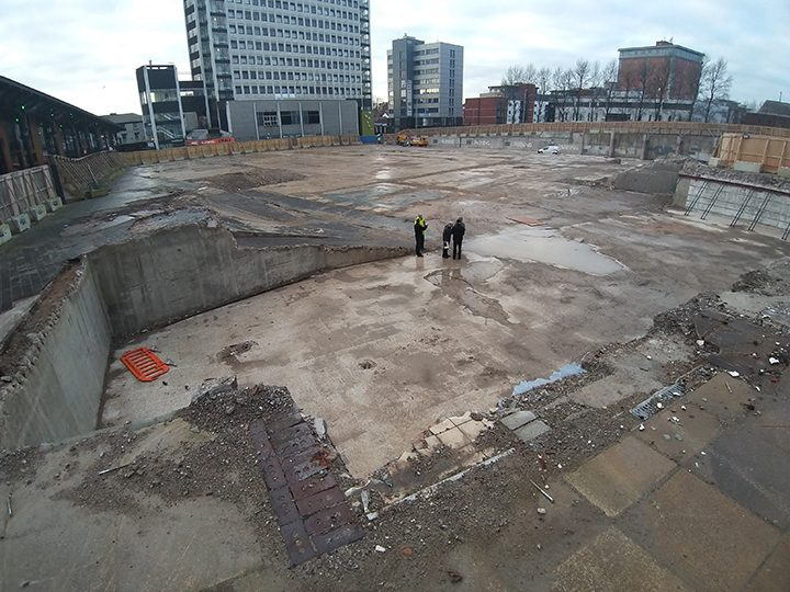 The cleared site where the former Indoor Market and car park stood