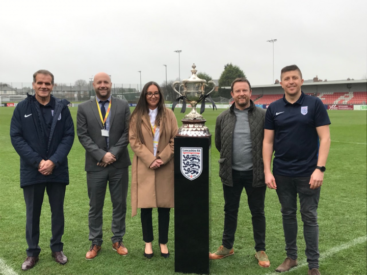 Up for the cup: (l-r) John Treacy (Lancashire FA), Stuart Chaplin and Deborah Blades (CANW), Kevin Gallacher and Iain Mackie (Lancashire FA) at the relaunch of the Orphanage Cup.