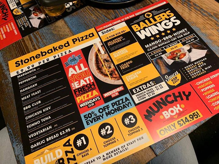 Pit Stop Pizza menu
