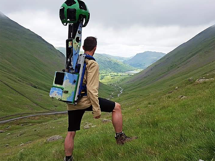 Richard Gill on a Google Maps assignment, with the Trekker camera on his back