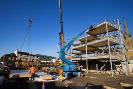 The changing face of the Adelphi Quarter as the steelwork is put in place for the UCLan Student Centre