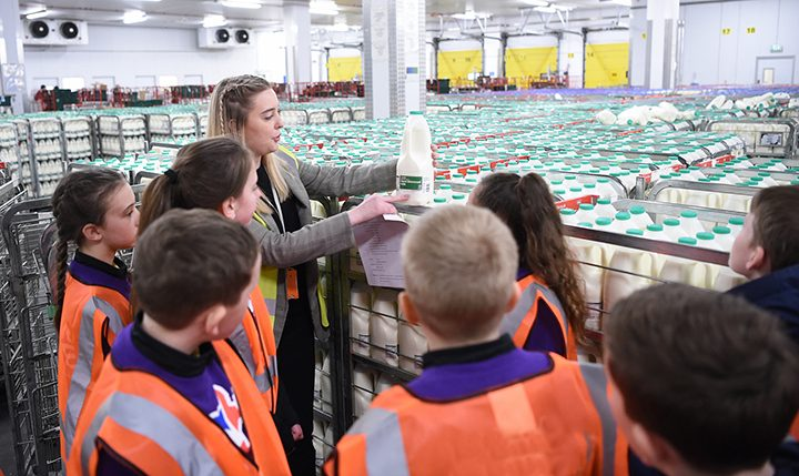 The children on a warehouse tour