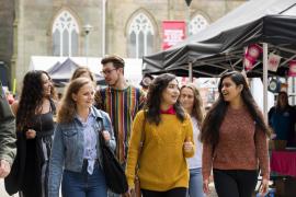 UCLan students walking through campus