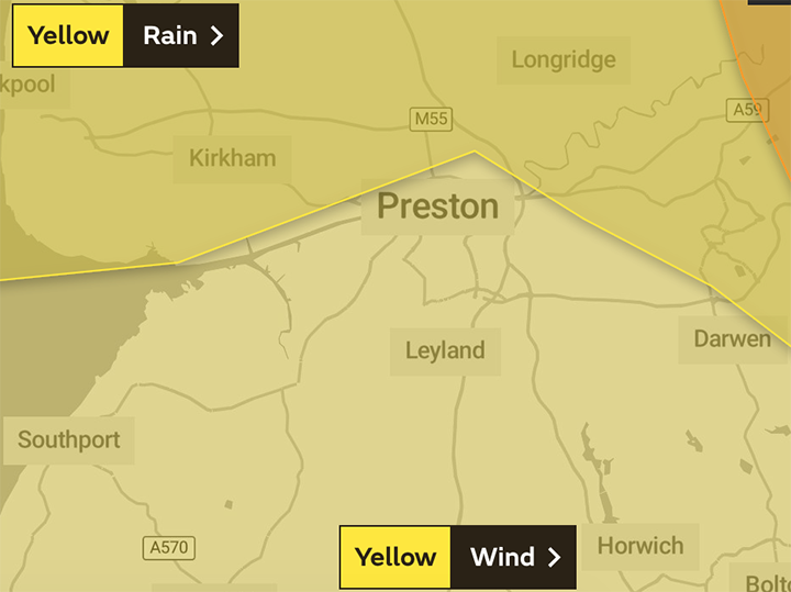 The warning for rain covers the northern parts of the region Pic: The Met Office