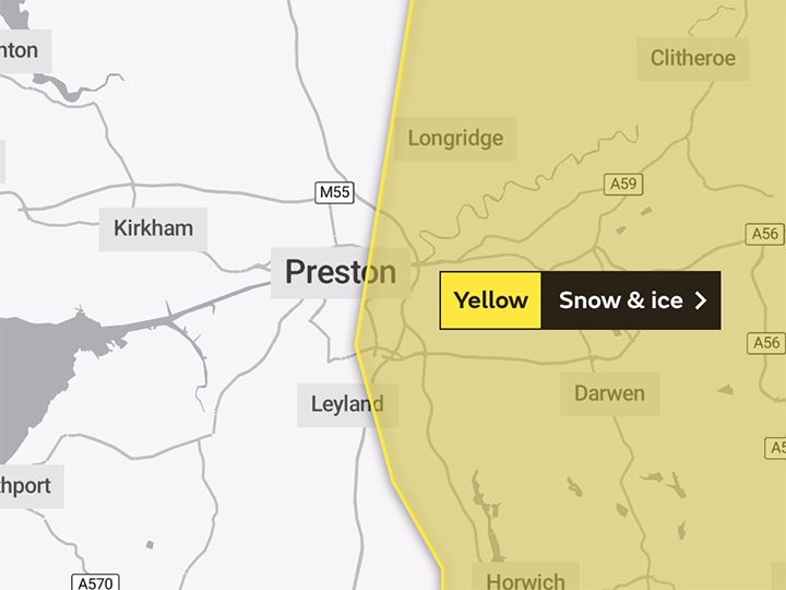 Map of Monday's yellow warning covering the eastern parts of Preston and South Ribble Pic: The Met Office