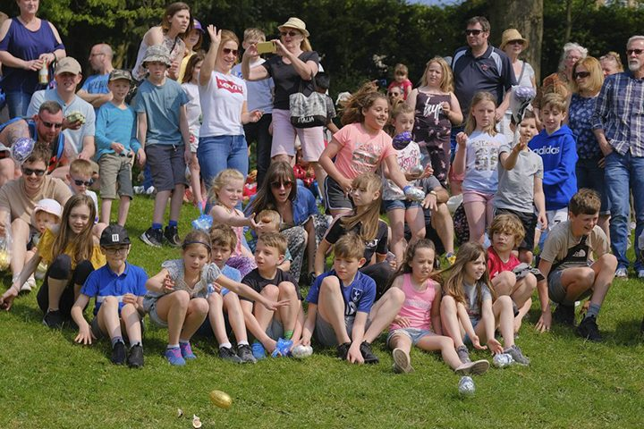 Kids send their Easter eggs flying down Avenham Park hill at the 2019 event Pic: Paul Melling