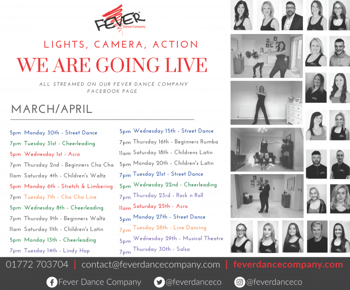 Fever Dance Company's upcoming schedule