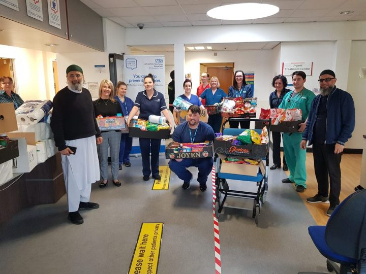 NHS staff recieve the first lot of donations from the Preston Mosques