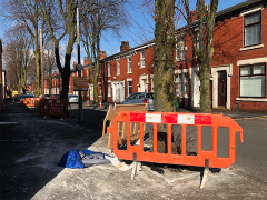 Signs and barriers are now in place in Stocks Road