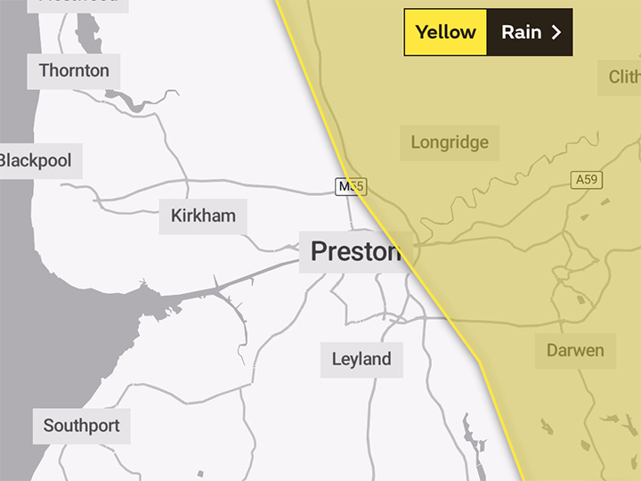 Monday's yellow warning covers the easten parts of Preston Pic: The Met Office