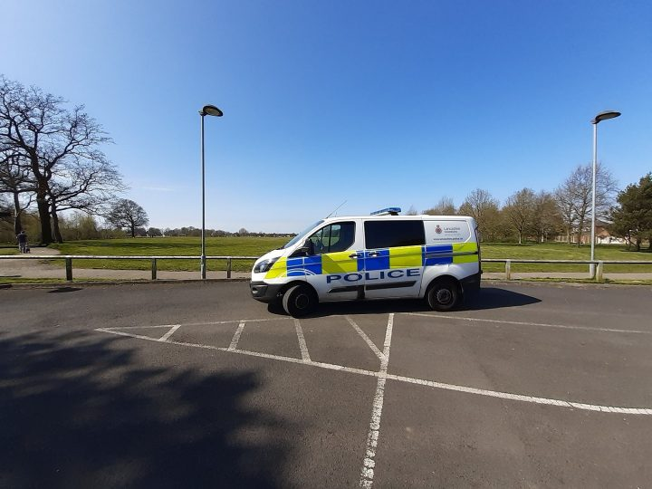 A police van parked up at Ashton Park Pic: Preston Police