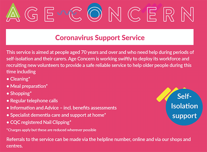 Age Concern coronavirus support - details of available services