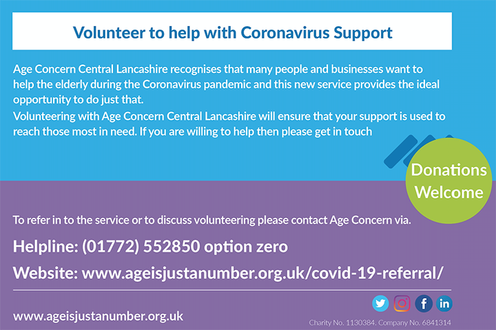 Age Concern coronavirus support - details of how to volunteer