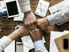 Four business people's fists together Pic: Mohamed Hassan from Pixabay