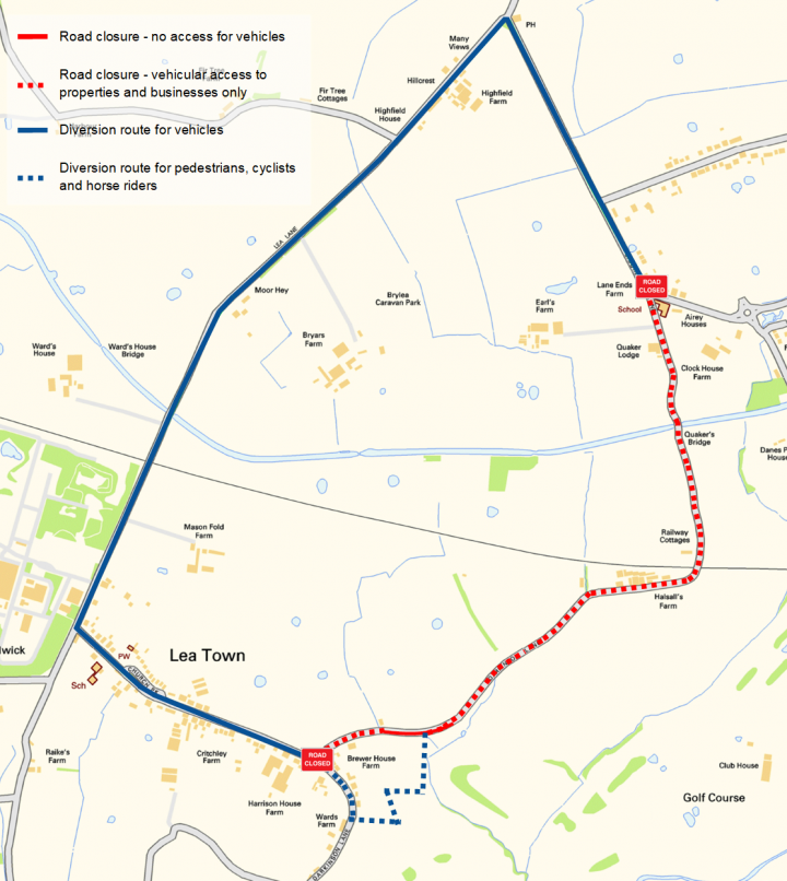 The diversion routes and section of Darkinson Lane to close Pic: Lancashire County Council
