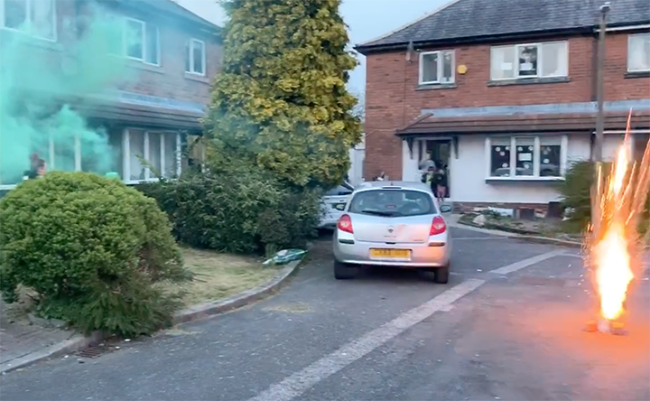 Village Drive residents release flares and fireworks to join Clap for our Carers