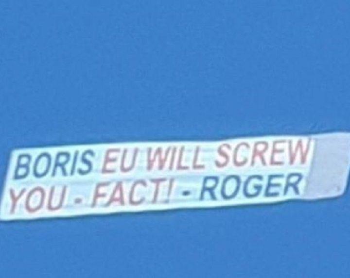 The message to Boris Johnson on the banner Pic: Sarah Lou Pilkington/Blog Preston