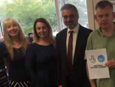 Left to right: Sharon Smith (ACE Service Manager), Liz Snape (ACE Service), Dale Tomlinson (Director of Community Services), and Gary Welsh (ACE Service).