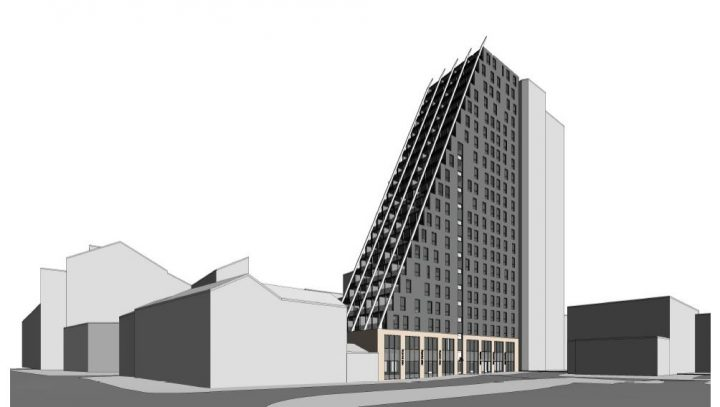 An artist's impression of how the new tower block would look in the city centre Pic: 1618 Architects