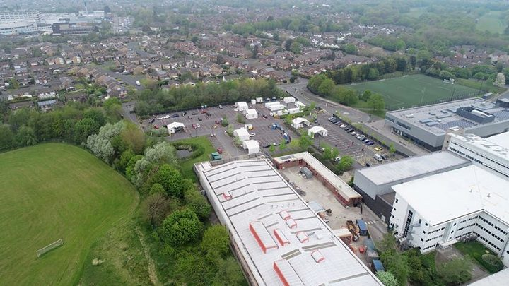 Aerial view of the Covid-19 test site at Preston's College in Fulwood
