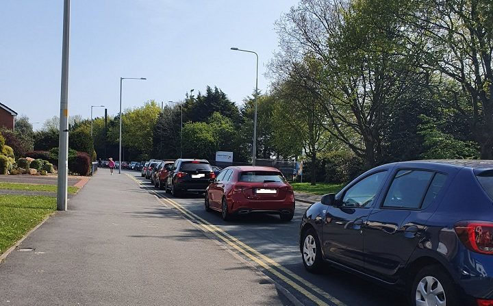 Traffic queuing up in St Vincent's Road for the coronavirus test site Pic: StePNE