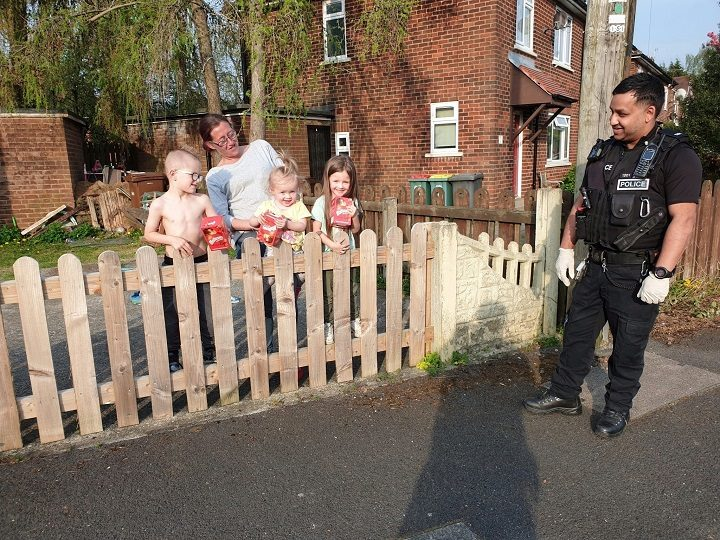 A Preston Police officer delivers Easter eggs to those in need Pic: Preston Police